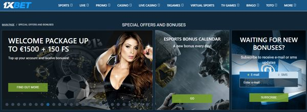 1xbet special offers - welcome package up to 1500 euro + 150 fs