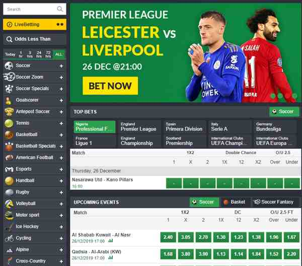 Bet on football, tennis, rugby, basketball, hockey and more in Bet9ja