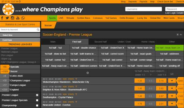 Bet on the English Premier League games on the Merrybet website